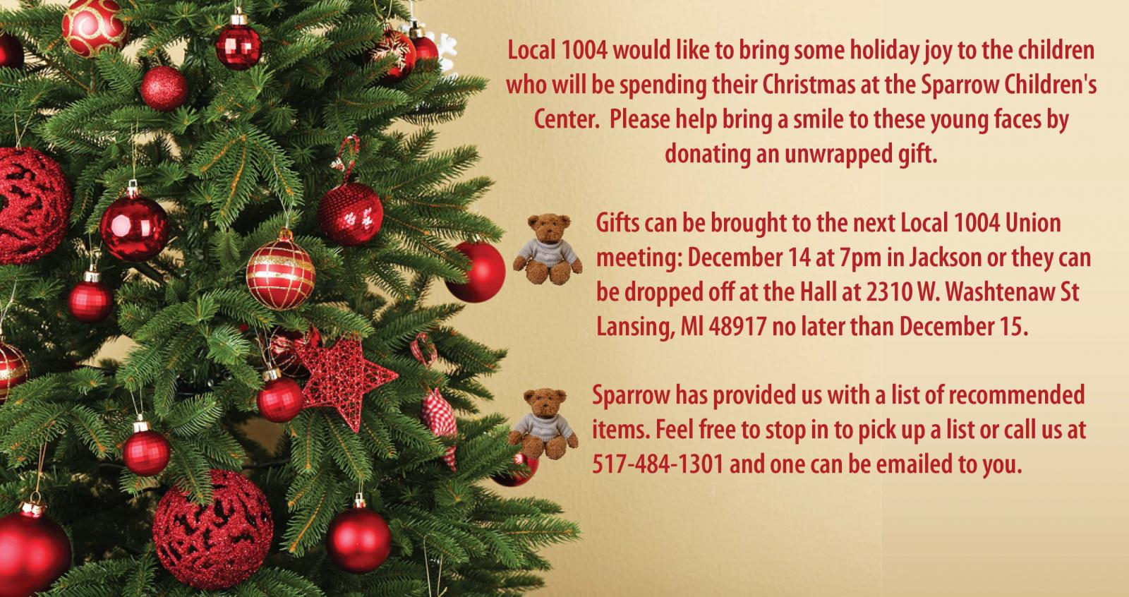 Donate Some Holiday Cheer To The Children At Sparrow Hospital